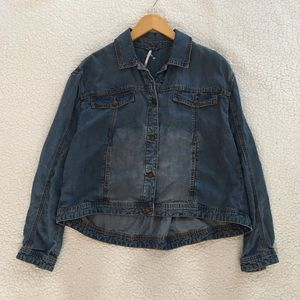 Free People tencel swing lightweight denim jacket